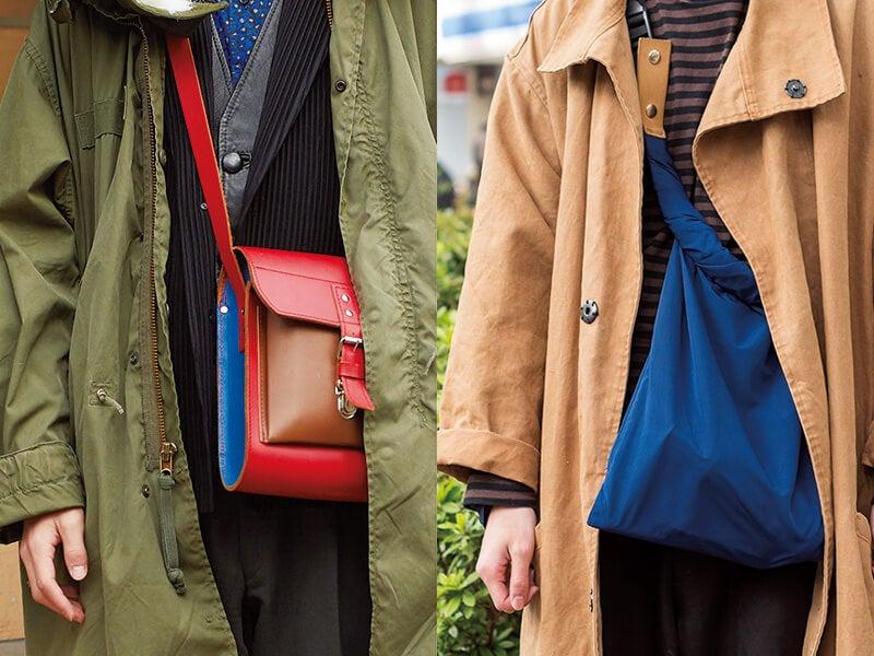 バッグをアウターの中にさげるスタイルが、日本全国で大流行中!