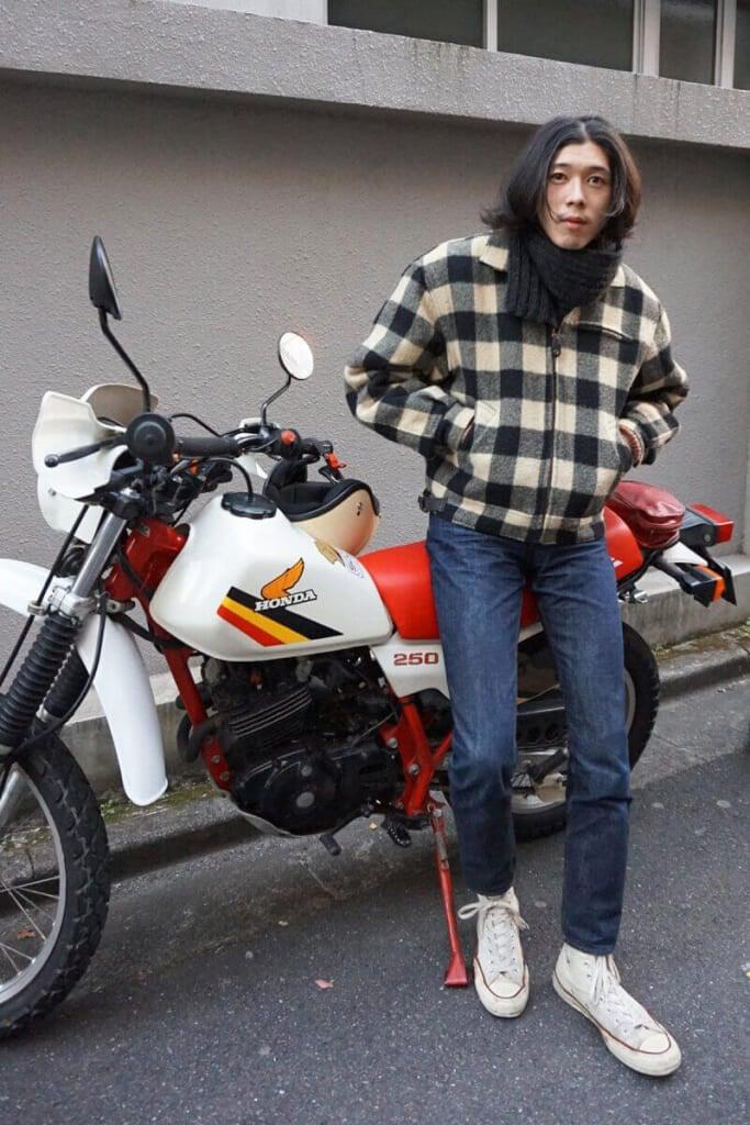 チェックのブルゾンは、バイク乗り的にもお気に入りです!