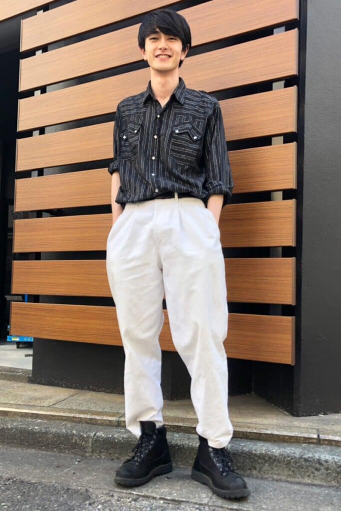 シャツ&白パンツの初夏コーディネート!