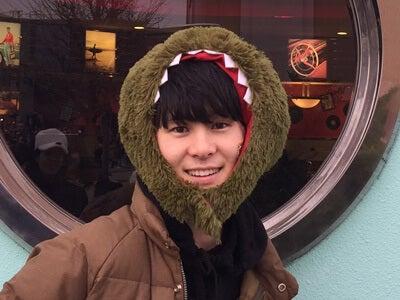 念願のダウンジャケットと、かぶりもので防寒は完璧!笑