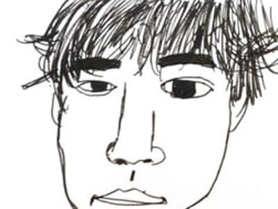 自画像を描きました。さて、似ているでしょうか…?