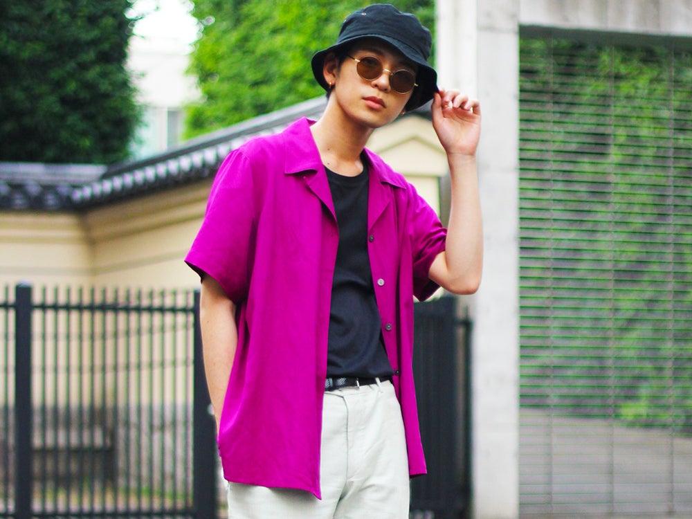 【おしゃれ男子の古着愛!】夏も必ずシャツ。気分が上がる色をジャストサイズで。