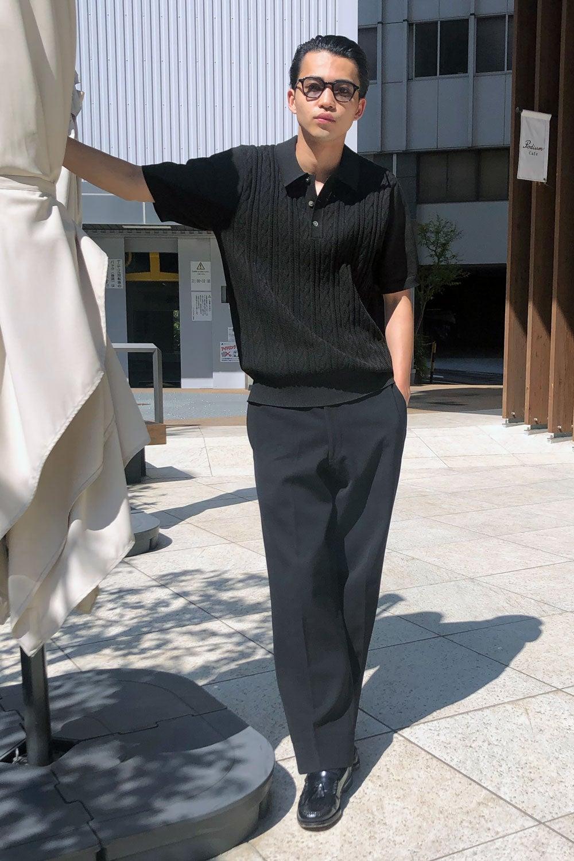 中田圭祐は、ステューシーのポロシャツでちょっと上品な夏の黒コーデに!