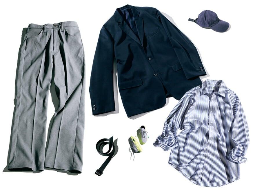 秋イチに買うべき3選、使えるグレーパンツ、ストライプシャツ、紺ジャケット!