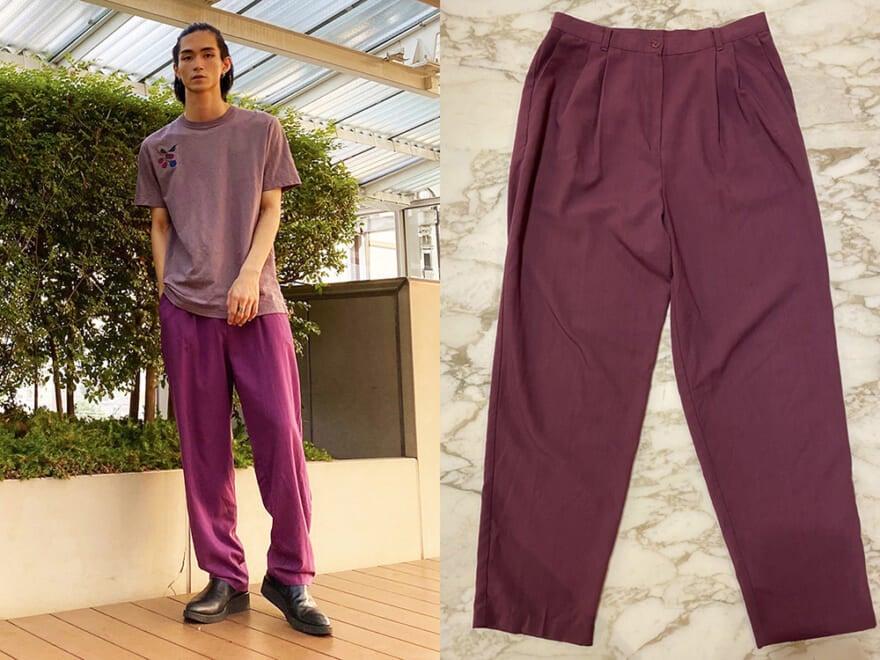 メンズノンノモデル野村大貴は紫のパンツに挑戦!革靴で品よく【おしゃれ男子の古着愛!】