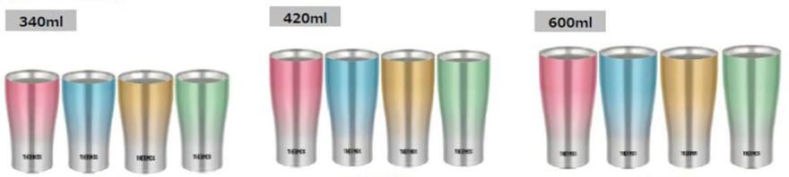 340ml, 420ml, 600mlの3サイズ展開となり、それぞれピンクフェード・ブルーフェード・ゴールドフェード・グリーンフェードの4色が用意されている。