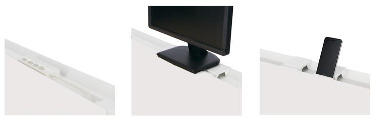 電源タップ収納例、トレーブロックのモニター使用例、トレーブロックのスマホスタンド使用例